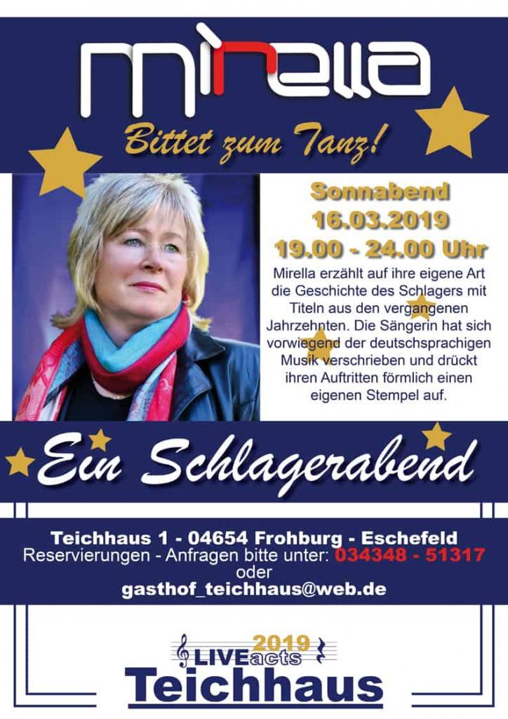 Plakat Tanz moit Mirella im Gasthof Teichhaus Frohburg-Eschefeld